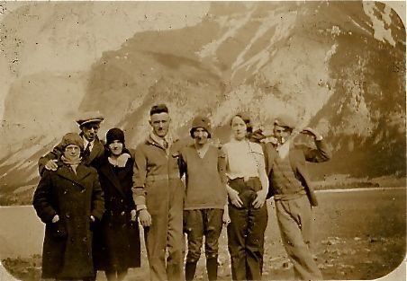 Third from the Right, Lilian Pentland takes some air in the Canadian Rockies 1928.