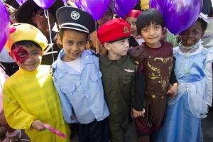 School Children in Israel Dress for Purim